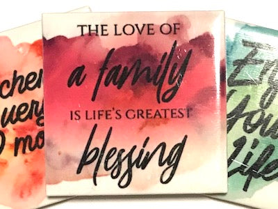 'The Love Of A Family' Ceramic Quote Tile (HM)