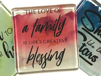 The Love Of A Family - Glass Quote Tile (HM)