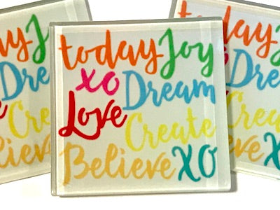 Joy Dream Love - Glass Quote Tile