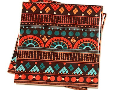 Tribal Inspired 10x10cm Ceramic Tiles - Pattern 18