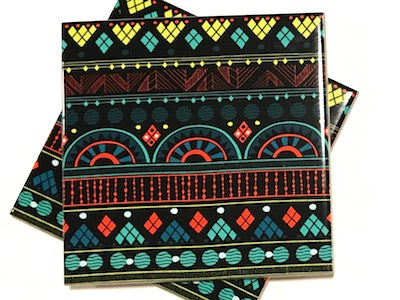 Tribal Inspired 10x10cm Ceramic Tiles - Pattern 19