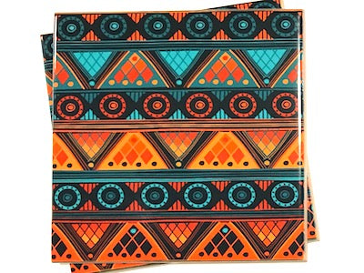 Tribal Inspired 10x10cm Ceramic Tiles - Pattern 1