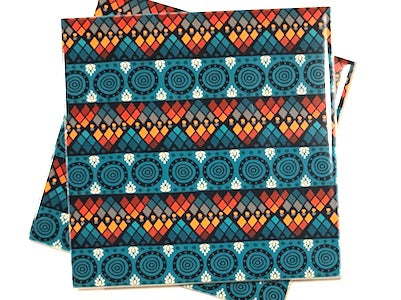 Tribal Inspired 10x10cm Ceramic Tiles - Pattern 7