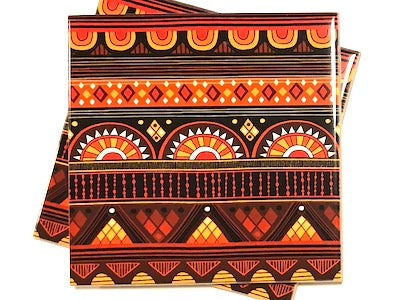 Tribal Inspired 10x10cm Ceramic Tiles - Pattern 8