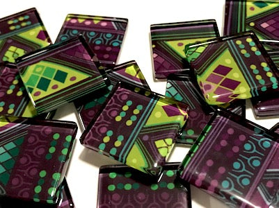 Tribal Inspired Glass Tiles 2.5cm - Pattern 12