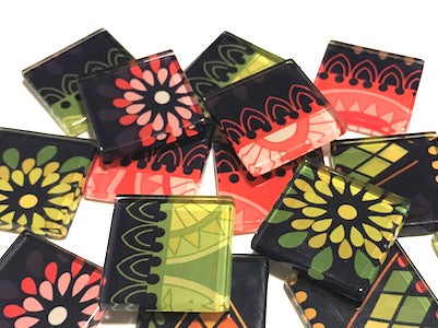 Tribal Inspired Glass Tiles 2.5cm - Pattern 16