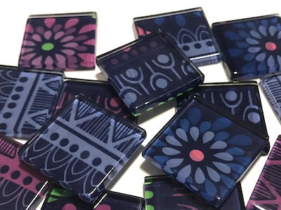 Tribal Inspired Glass Tiles 2.5cm - Pattern 18