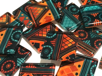 Tribal Inspired Glass Tiles 2.5cm - Pattern 1
