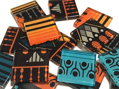 Tribal Inspired Glass Tiles 2.5cm - Pattern 23