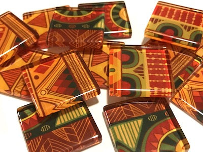 Tribal Inspired Glass Tiles 2.5cm - Pattern 2