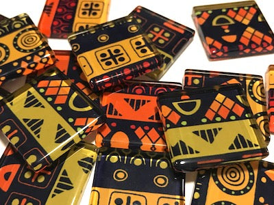 Tribal Inspired Glass Tiles 2.5cm - Pattern 9