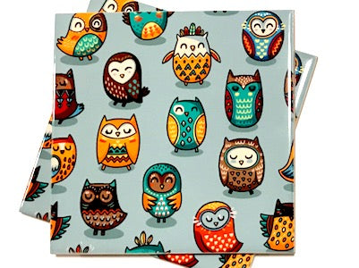 Tribal Owl 10x10cm Ceramic Tiles - Pattern 1