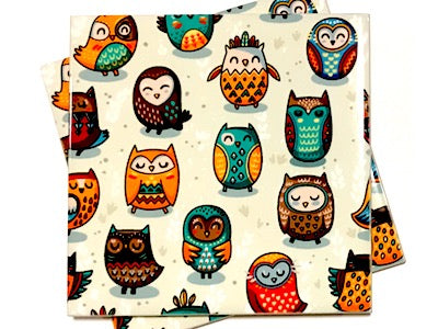 Tribal Owl 10x10cm Ceramic Tiles - Pattern 2