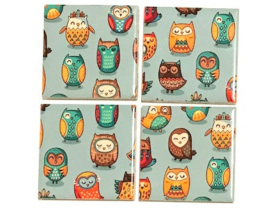 Tribal Owl Hand Printed Ceramic Tiles 4.8 x 4.8 cm - Pattern 1