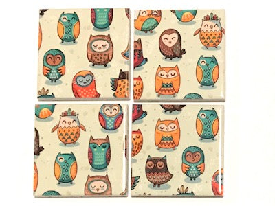 Tribal Owl Hand Printed Ceramic Tiles 4.8 x 4.8 cm - Pattern 2