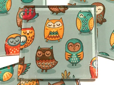 Tribal Owl Hand Printed Glass Tiles 5 x 5 cm - Pattern 1