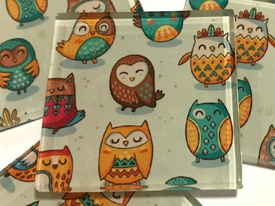 Tribal Owl Hand Printed Glass Tiles 5 x 5 cm - Pattern 2
