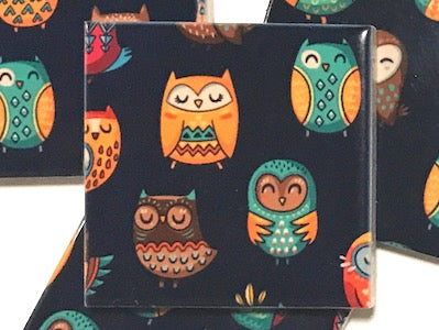Tribal Owl Hand Printed Ceramic Tiles 4.8 x 4.8 cm - Pattern 3