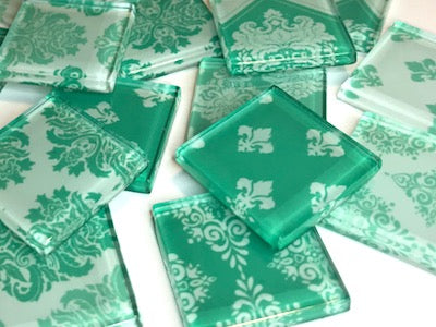 Turquoise Damask Patterned Glass Tiles 2.5cm
