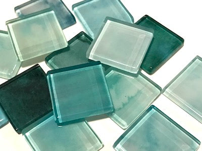 Turquoise Mix - Watercolour Mix & Match 2.5cm Glass Tiles (HM)