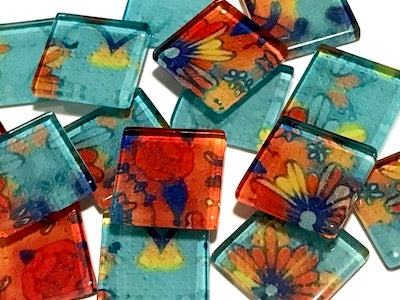 Vintage Gypsy 2.5cm Glass Tiles - Pattern 2 (HM)