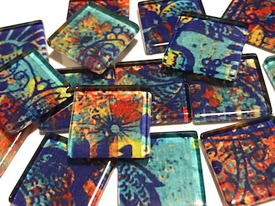Vintage Gypsy 2.5cm Glass Tiles - Pattern 8 (HM)