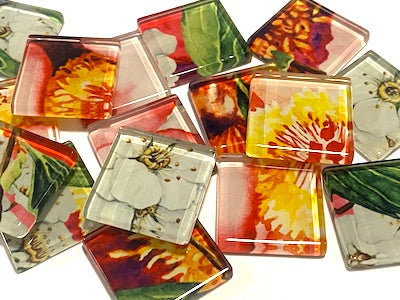 Watercolour Flower Glass Mosaic Tiles 2.5cm - No. 12 (HM)
