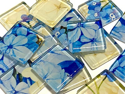 Watercolour Flower Glass Mosaic Tiles 2.5cm - No. 3 (HM)