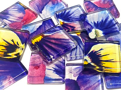 Watercolour Flower Glass Mosaic Tiles 2.5cm - No. 8 (HM)