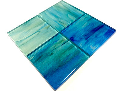 WATERCOLOUR FLOWER GLASS MOSAIC TILES 5CM - NO. 1 (HM)