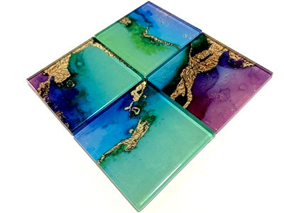 Watercolour with Gold Glass Mosaic Tiles 5cm - No. 1 (HM)
