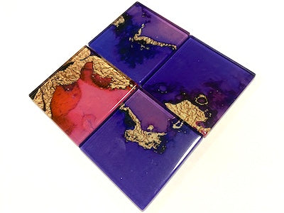 Watercolour with Gold Glass Mosaic Tiles 5cm - No. 3 (HM)