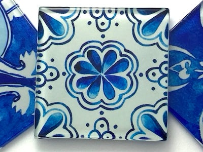 Watercolour Portuguese Glass Tiles 5cm - Pattern 10 (HM)