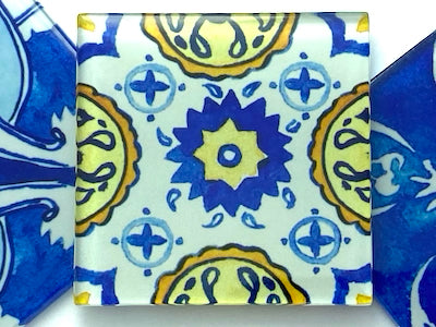 Watercolour Portuguese Glass Tiles 5cm - Pattern 12 (HM)