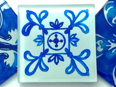 Watercolour Portuguese Glass Tiles 5cm - Pattern 13 (HM)