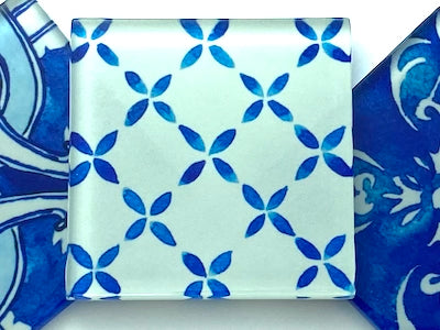 Watercolour Portuguese Glass Tiles 5cm - Pattern 5 (HM)