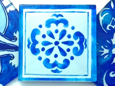 Watercolour Portuguese Glass Tiles 5cm - Pattern 6 (HM)