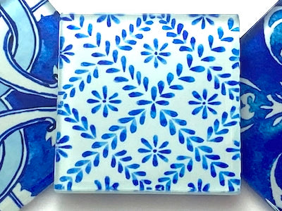 Watercolour Portuguese Glass Tiles 5cm - Pattern 7 (HM)