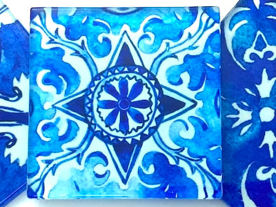 Watercolour Portuguese Glass Tiles 5cm - Pattern 8 (HM)