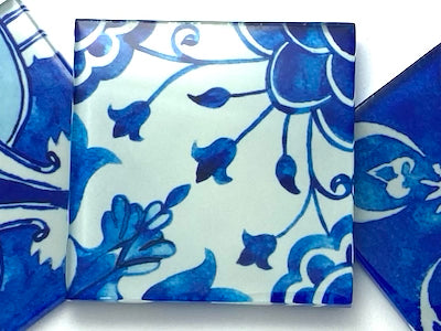 Watercolour Portuguese Glass Tiles 5cm - Pattern 9 (HM)
