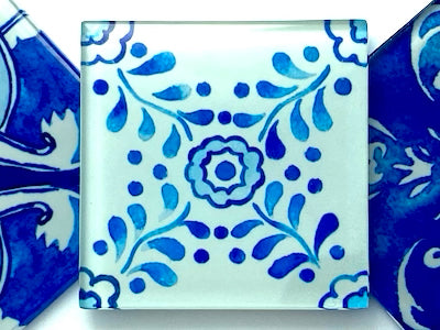 Watercolour Portuguese Glass Tiles 5cm - Pattern 1