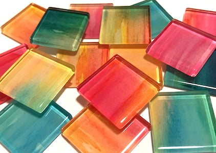 Watercolour Glass Mosaic Tiles 2.5cm - No. 4
