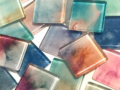 Watercolour Mix & Match 2.5cm Glass Tiles - Mixed Colours (HM)
