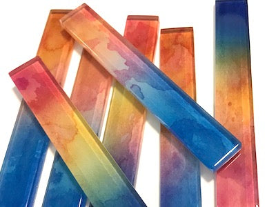 Watercolour Series Glass Strips - Pattern 7 - 10 x 1.5 cm