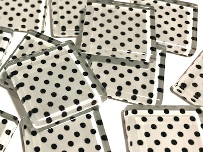 White Dots Handmade Glass Tiles 2.5cm