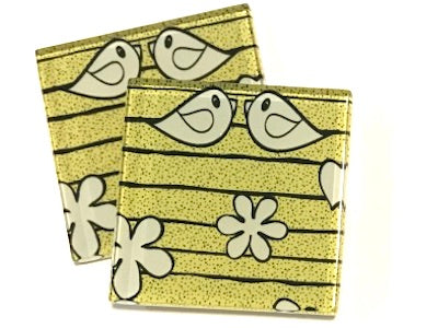 Yellow Birds 5cm Glass Tiles
