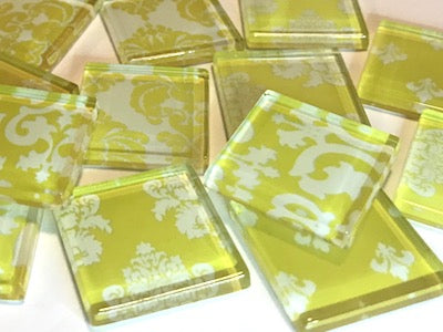 Yellow Damask Patterned Glass Tiles 2.5cm