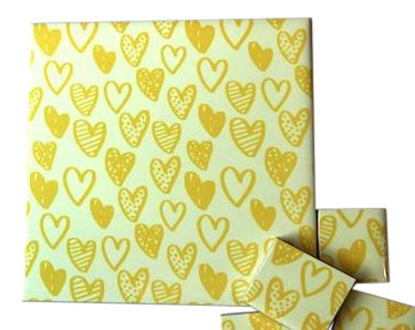 Yellow Hearts Ceramic Tiles 10x10cm