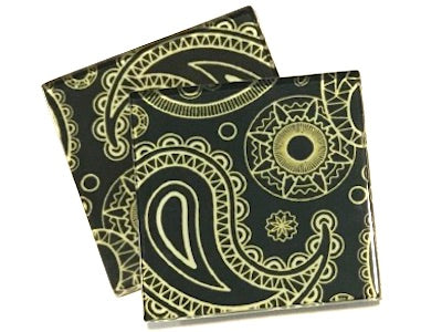 Yellow Paisley 5cm Glass Tiles