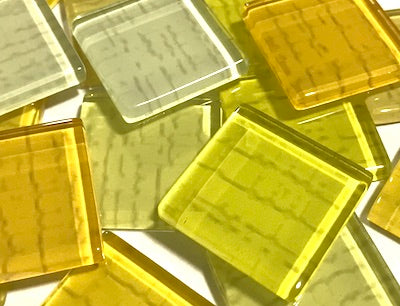 Yellow Textured Glass Tiles 2.5cm